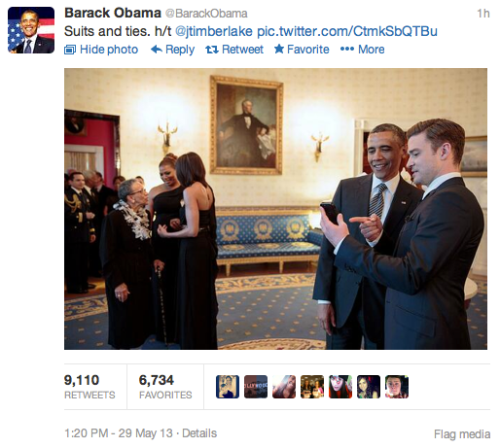 President Obama and Justin Timberlake. Photo credit: @barackobama