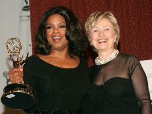 Winfrey and Clinton at 33rd International Emmy Awards (Photo by Evan Agostini/Getty Images)